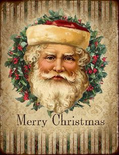 Vintage Santa Christmas tag