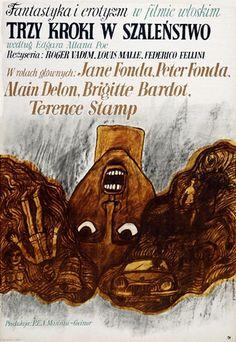 Marian Stachurski Trzy kroki w szalenstwo, Federico Fellini, Louis Malle Polish Poster Gallery, Polish movie, cinema poster PIGASUS