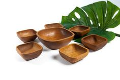 Teak bowls vintage, bowls set, wooden bowl, danish modern style, appetizer bowl, rustic bowls, snack bowls, party serving bowl, boho kitchen