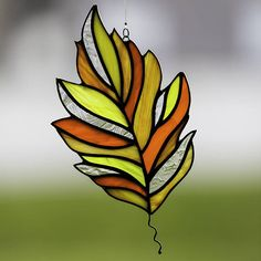 Stained glass fall leaf suncatcher, stain glass autumn leaf ornament on Etsy