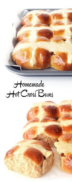 Easy Homemade Hot Cross Buns! Light and fluffy on the inside, golden on the outside, filled with juicy raisins and a handful of spices. This is the only recipe I use!