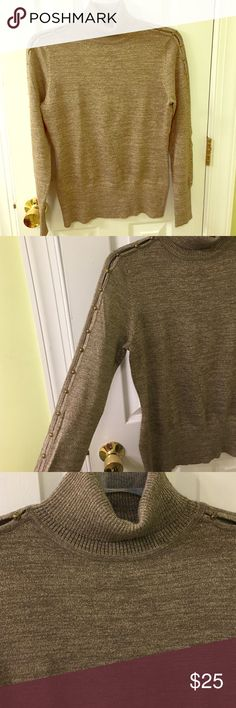 Metallic gold turtleneck split sleeve sweater Gorgeous gold turtleneck sweater with open sleeves and gold detail down the sleeves. Never been worn, perfect condition. Great for the holidays! First pic is styling suggestion not actual sweater Cache Sweaters Cowl & Turtlenecks