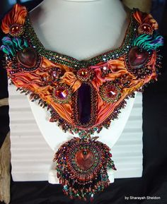 """BLUSHING PEACOCK Shibori Bead Embroidered Necklace by 4uidzne, $495.00   35% ALL ITEMS  Use code """"2SWEET"""""""