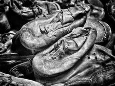 Block 5. Shoes which belonged to children deported to Auschwitz.