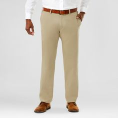 Haggar H26 Men's Big & Tall Sustainable Chino Pants Khaki (Green) 44x36