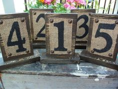 shabby chic burlap ideas | Rustic Table Numbers with Burlap and Vintage/Antiqued look wood Brown