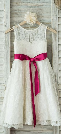 A-Line/Princess Tea-length Flower Girl Dress - Lace Sleeveless Scoop Neck With Sash #Flowergirldress