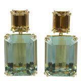 Beryl earrings...warm amber streaked blue