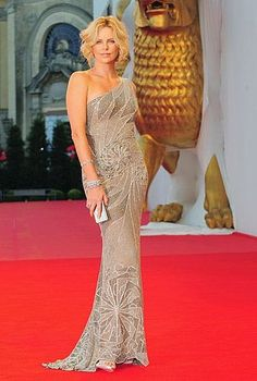 Charlize Theron in Versace at the 2008 Venice Film Festival.