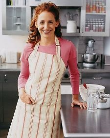 Baker's Apron - This striped apron is comfortable and festive. She is an exceptional baker as well as a chef, so I tucked the apron into a fluted ceramic pie pan and laced ribbon through some sweet cookie cutters.  Instructions here.