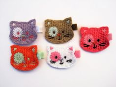 Baby Hair clip with crochet kitten. Girls clip. Kitten hair clip. Girls hair clips. Cat face hair clip. on Etsy, $3.50