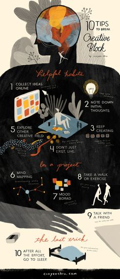 My first try of infographic! 10 tips to break the creative block!  These are tricks that really work on me.  For mind mapping I like mindmup.  For mood board in a project I like padlet. (pinterest for me is more like daily random inspiration.)