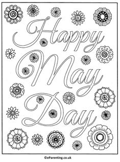 Free printable Happy May Day adult colouring picture. A hand-drawn mandala-style May Day colouring picture for you to print - enjoy! Free Coloring Pages, Printable Coloring Pages, Coloring Pictures For Kids, Elderly Activities, Happy May, May Days, Daycare Crafts, Beltane, Print Pictures