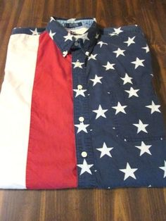 mens American Flag CHAPS By Ralph Lauren SS Shirt 4th of July Large USA stars #RuinAVideoGameCharacter #cantsleep #oomf