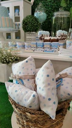 Pillow favors at an owl baby shower party! See more party planning ideas at CatchMyParty.com!