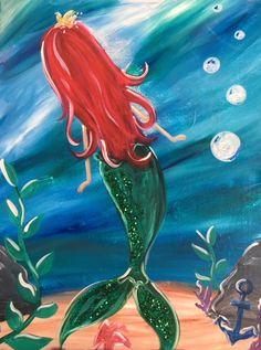 Children's paint class by Painted. Studios Mermaid Glitter acrylic c Acrylic Painting For Kids, Easy Canvas Painting, Acrylic Canvas, Painting & Drawing, Children Painting, Family Painting, Mermaid Canvas, Mermaid Art, Tattoo Mermaid