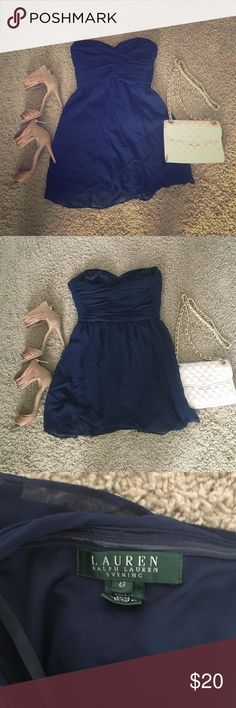 Ralph Lauren Navy Cocktail Dress! This cute and classy cocktail dress is perfect for a work party or wedding! The size is a 4P (fits a typical small with small-medium sized chest) and was a longer gown professionally hemmed into a short dress. Fully lined and features a sweetheart top. Ralph Lauren Dresses Strapless