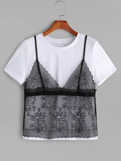 Shop Contrast Floral Lace Cami Overlay T-shirt online. SheIn offers Contrast Floral Lace Cami Overlay T-shirt amp; more to fit your fashionable needs. WOMENS T-shirt Lace Tee, Lace Camisole, Festival T-shirts, Fashion Week, Fashion Outfits, Women's Fashion, Latest T Shirt, T Shirts For Women, Clothes For Women