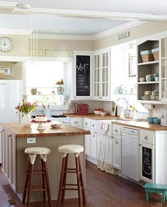 Country Kitchen with White Appliances