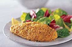1/2 cup KRAFT Grated Parmesan Cheese,1 env. GOOD SEASONS Italian Dressing Mix,1/2 tsp. garlic powder, 6 small boneless skinless chicken breast halves (1-1/2 lb.)...HEAT oven to 400°F.    MIX cheese, dressing mix and garlic powder.     MOISTEN chicken with water; coat with cheese mixture. Place in single layer in shallow baking dish.     BAKE 20 to 25 min. or until chicken is done (165°F).