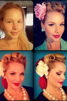 Several looks from pinup sensation Elly Mayday including fresh face and 40's style #pinuphair #pinupmakeup #pinupmodel