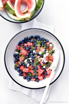 Easy Blueberry Watermelon Feta Mint Salad | shewearsmanyhats.com