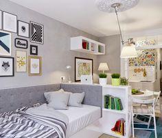The inspiring modern décor of 25-square-meter (270 sq ft) studio apartment