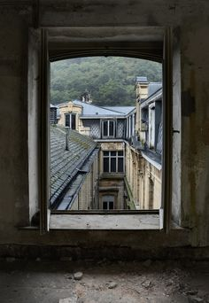 Abandoned Health Spa ; The view from an upper floor window of an abandoned health spa in Belgium.