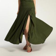 Indigenous Organic Cotton Skirt - Fair Trade - Camo Green