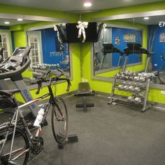 fitness room decor | Exercise Room In Basement Design Ideas, Pictures, Remodel, and Decor