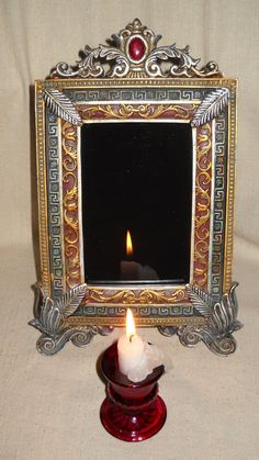 Gothic Scrying Mirror Made on the Autumnal Equinox Mabon 2014 by SomethingWiccan