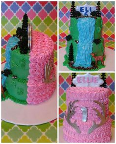 Two sides birthday cake for a boy AND a girl