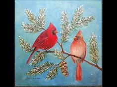 LIVE Cardinal Acrylic Painting Tutorial | Angelooney Winter Paint In Event! - YouTube