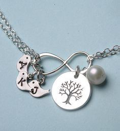 family tree necklace....just missing an S! PS.....I'd wear this if my kids want to buy it for me!! Mother's Day, Christmas, birthday....