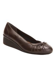 Dark Brown Ella Leather Wedge
