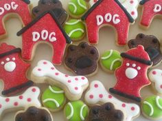 Dog Cookies~ Dog Days Mini Sugar Cookies-2.5 Dozen, by A Cookie Jar on Etsy, red dog house, green ball, white dog bone, Brown paw prints