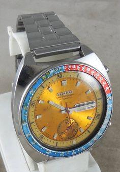 Original SEIKO CHRONOGRAPH Automatic Pepsi Bezel 6319-6012 17 Jewels MENS watch #Seiko