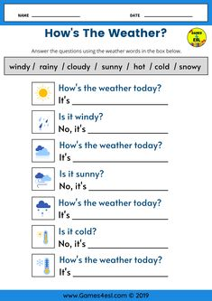 This ESL worksheet is for teaching weather vocabulary to kids and beginner English language learners. Students should fill in the blank space with the correct weather word English Activities For Kids, English Grammar For Kids, Learning English For Kids, Teaching English Grammar, English Lessons For Kids, Kids English, English Language Learning, English Vocabulary, Learn English