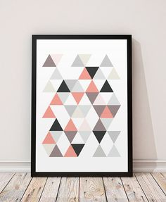 Geometric poster, Triangles art print, Geometric triangles, Modern prints, Scandinavian prints, Home decor, Wall art, Wall prints, Print art