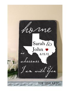State Heart, Custom Personalized You Pick the State Chalkboard Home is Wherever I am with You Distressed Typography Word Art Sign on Wood
