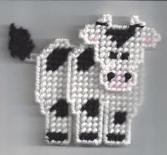 Cow Ornament Plastic Canvas by suesshirtshop on Etsy, $3.00
