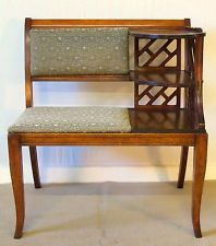 Retro Gossip Bench Phone Table Birch with 3 Shelves Sturdy c1940 (Link doesn't work)