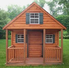 Honest Abe Log Cabin -The Amish Playhouse with shuttered windows allow lots of light, while a loft (with ladder) provides a cozy place for sharing secrets with pals, reading, or simply whiling away the carefree days of childhood. This special Amish-made cedar log cabin playhouse features lots of no-added-cost standard features in addition to several pleasing options for an authentic old-time pioneer feel kids are sure to enjoy!