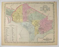Original Antique Washington DC Map 1858 Mitchell DeSilver Map Washington DC, Gift for Husband, US history Buff Gift, Washington dc Decor Art available from OldMapsandPrints.Etsy.com #WashingtonDCAntiqueMap #1858MitchellDeSilverMapofWashingtonDC #USCapitalCityMap