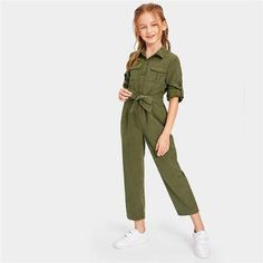 To find out about the Girls Button & Pocket Front Belted Jumpsuit at SHEIN, part of our latest Girls Jumpsuits ready to shop online today! Dresses Kids Girl, Kids Outfits Girls, Cute Girl Outfits, Girls Fashion Clothes, Tween Fashion, Cute Outfits For Kids, Teen Fashion Outfits, Cute Casual Outfits, Cute Clothes For Kids