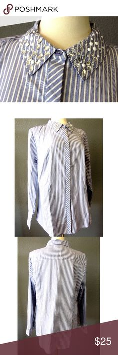 "Lane Bryant Striped Blouse Jeweled Collar Sz 18 Brand:   Lane Bryant Style:  Button shirt Size:   18 Color/Pattern:  Blue, white - Stripes Material:   68% Cotton, 26% Nylon, 6% Spandex Measurements:   -Shoulder to hem:  28"" -Across under arm:  24"" Lane Bryant Tops Button Down Shirts"
