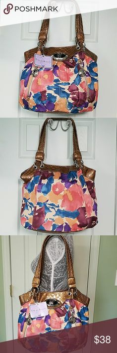 Sienna Ricchi Color Painted Floral Shopper / Purse Bronze Faux Snake Skin Handles Silver Tone Accents Pretty Blue Purple Cream And Orange Painted Floral 2 Exterior Zipper Pockets Snap Top Closure 3 interior compartments middle zipper top closure 2 interior slip and 1 zipper pocket cream cloth sr  logo interior Sienna Ricchi  Bags Shoulder Bags
