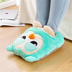 Fashion Cute Style Xmas Plush Soft USB Powered Shoes Foot Warmer Electric Computer Heat Slipper Heated Slippers, USB Heated Slippers, Warming Slippers, Heating Pad, Foot Heaters Multi-use Washable Slipper Green #owl