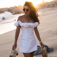 Sona Gasparian wears a little white dress that's perfect for summer while on vacation in Cabo Dress Outfits, Casual Dresses, Fashion Dresses, Cute Outfits, Dresses Dresses, Fashion Clothes, White Dress Summer, Little White Dresses, Edgy Dress