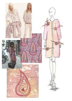 Fashion Sketchbook - delicate watercolour fashion drawing, pattern inspirations & interpretation; drawing with stitch - the fashion design process // Sarah Davies